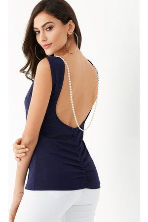 YOINS Women Tank Tops - Handmade Beaded Backless Sleeveless Top