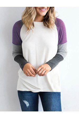 YOINS Women Long Sleeve - Stripe Patchwork Design Round Neck Long Sleeves T-shirt