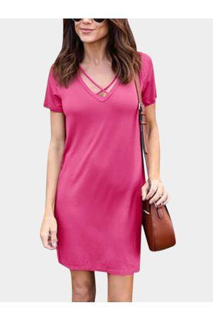 YOINS Women Short Sleeve - Rose Lace-up Design V Neck Short Sleeves Dresses