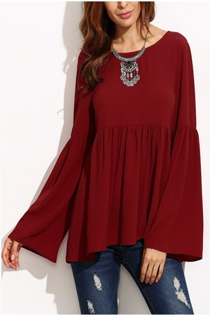 YOINS Women Blouses - Flared Long Sleeves Pleated Loose Blouse