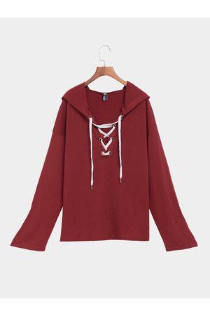 YOINS Women Long Sleeve - Bungundy Long Sleeves Lace-up Design Hoodie