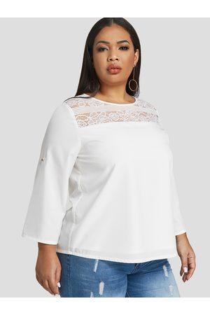 YOINS Women Blouses - Plus Size Adjustable Round Neck Lace Insert Blouse