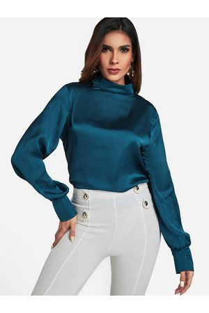 YOINS Women Blouses - Dark Cyan Mock Neck Puff Sleeve Blouse