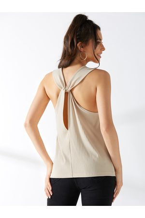 YOINS Women Tank Tops - Apricot Twist Back Tank Top
