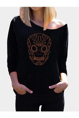 YOINS Women Long Sleeve - Skull Pattern Long Sleeves Halloween Top