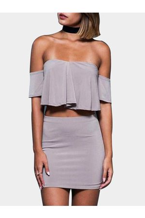 YOINS Women Crop Tops - Crop Top & Skirt With Off Shoulder