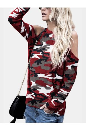 YOINS Camouflage Round Neck Cold Shoulder Long Sleeves T-shirt