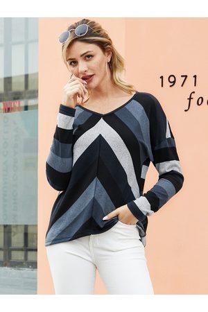 YOINS Women Long Sleeve - Black Striped V-neck Long Sleeves Knit Tee