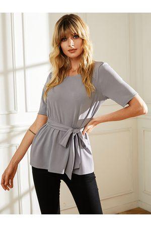 YOINS Women Short Sleeve - Grey Self-tie Design Round Neck Design Short Sleeves Tee