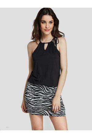 YOINS Women Printed Dresses - Adjustable Neck Strap Zebra Print Mini Dress