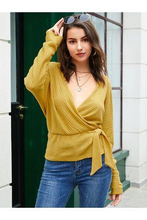 YOINS Women Long Sleeve - Yellow Backless Design V-neck Long Sleeves Sweater