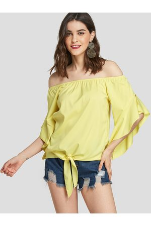 YOINS Women Tops - Off The Shoulder Ruffle Trim Of Sleeves Blouse