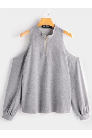 YOINS Women Sweatshirts - Cold Shoulder Zipper Front Sweatshirts