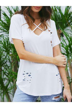 YOINS Women Short Sleeve - White Criss Cross Random Ripped V-neck Short Sleeves Tee
