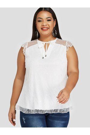 YOINS Women Tank Tops - Plus Size Lace Cut Out Sleeveless Blouse