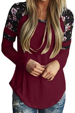 YOINS Women Long Sleeve - Random Floral Print Crew Neck Long Sleeves T-shirts
