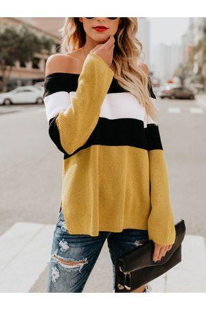 YOINS Color Block Off The Shoulder Sweater