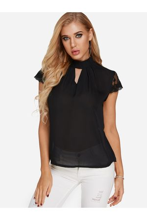 YOINS Cut Out Halter Cap Lace Trim Blouse