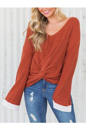 YOINS Rust Twisted V-neck Sweater
