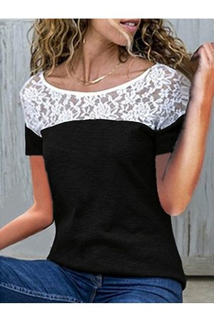 YOINS Lace Patchwork Design Crew Neck Short Sleeves Tee