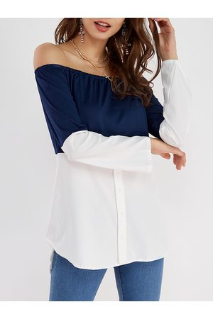 YOINS Navy & White Off Shoulder Long Sleeves T-shirt