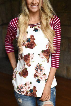 YOINS Women Long Sleeve - Red Stripe Randon Floral Print Long Sleeves T-shirt