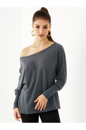 YOINS Women Long Sleeve - Dark Gray One Shoulder Long Sleeves Knit Top