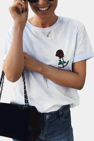 YOINS Women Short Sleeve - Casual Rose Embroidered Details T-shirts in