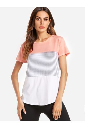YOINS Women Short Sleeve - Pink Stitching Stripe Pattern T-shirt with Contrast Color
