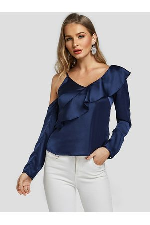 YOINS Women Blouses - Satin Cold Shoulder Ruffle Asymmetrical Spaghetti Blouse
