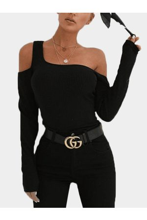 YOINS Women Long Sleeve - One Shoulder Long Sleeves Knitted Top