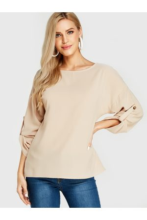 YOINS Women Blouses - Round Neck Long Sleeves Blouses