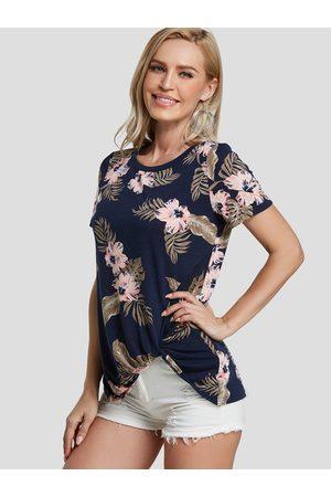 YOINS Women Short Sleeve - Dark Blue Twist Random Floral Print Round Neck Tee