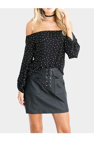 YOINS Women Tops - Dot Print Off-The-Shoulder Blouse in