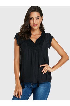 YOINS Women Short Sleeve - V-neck Short Sleeves Blouse