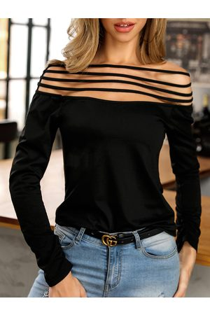 YOINS Women Long Sleeve - Black Cut Out Off The Shoulder Long Sleeves Tee