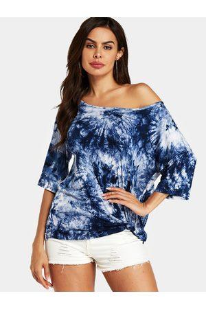 YOINS Women T-shirts - Tie-Dye Round Neck Half Sleeves Tee