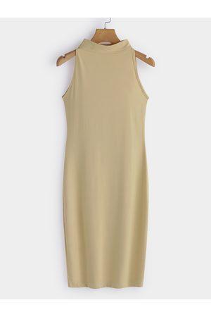 YOINS Women Bodycon Dresses - Apricot Sexy Perkins Collar Sleeveless Bodycon Dress
