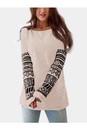 YOINS Apricot Tribal Print At Arms Round Neck Fashion T-shirt