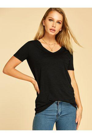 YOINS Pocket Design V-neck Short Sleeves Tee