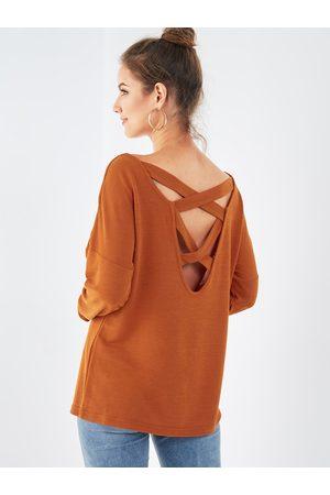 YOINS Women Long Sleeve - Criss-cross Back Round Neck Long Sleeves Sweatshirt