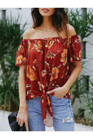 YOINS Women Tops - Elastic Strap Floral Print Off The Shoulder Blouse