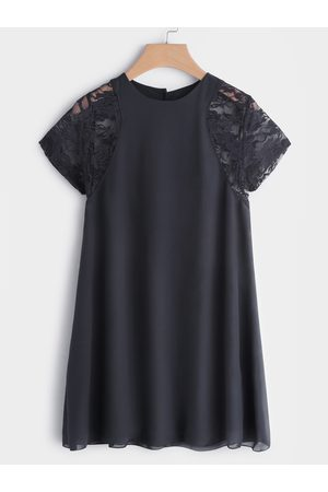 YOINS Women Short Sleeve - Lace Insert Round Neck Short Sleeves Chiffon Dress