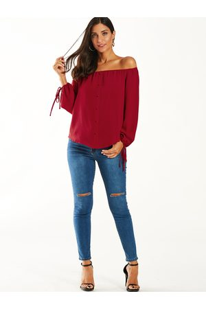 YOINS Off Shoulder Tie-up At Cuffs Blouse