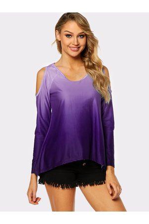 YOINS Women Blouses - Printed Cold Shoulder Long Sleeves Irregular Hem Blouses