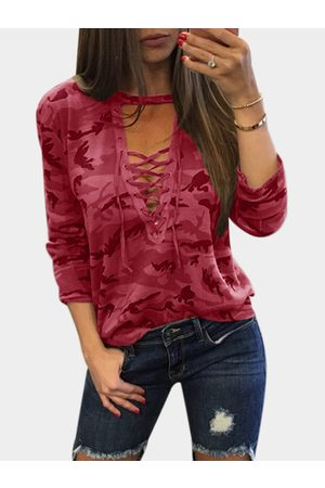 YOINS Women Long Sleeve - Sexy Camouflage Pattern V-neck Lace-up Front Top