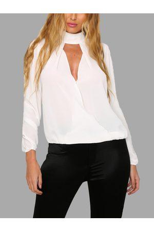 YOINS Women Blouses - Sheer-through High Neck Long Sleeves Hollow Top