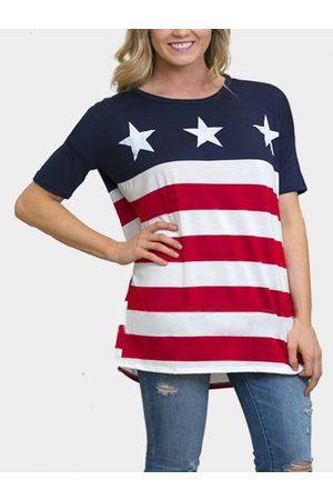 YOINS Women Short Sleeve - Flag Print Stripe Pattern T-shirt