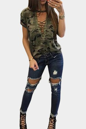 YOINS Sexy Camouflage Pattern V-neck Lace-up Front T-shirt