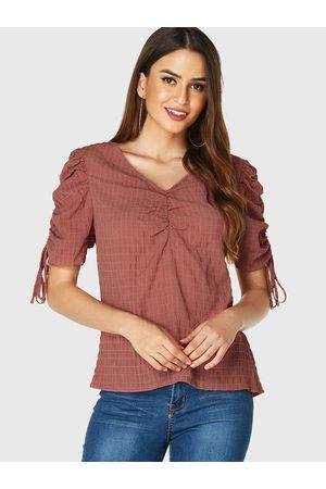 YOINS Women Short Sleeve - Rust Ruched Design V-neck Short Sleeves Blouse
